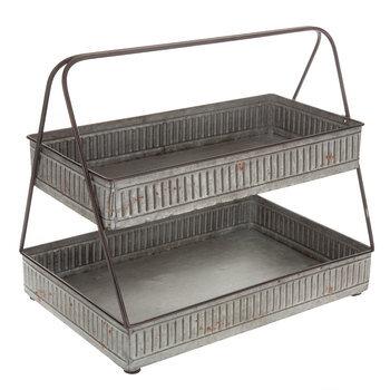 2-tiered galvanized trays